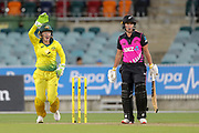 Kate Ebrahim gone, LBW. Women's T20 international Cricket, Australia v New Zealand White Ferns.  Manuka Oval, Canberra, 5 October 2018. Copyright Image: David Neilson / www.photosport.nz