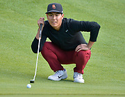 Justin Suh from the University of Southern California lines up a putt on the 2nd green. College players were paired with tour pros during the Collegiate Showcase during the Genesis Open at Riviera Country Club. The low scoring college player will get an exemption to play in the tournament that begins on Thursday. Los Angeles, CA 1/025/2018 (Photo by John McCoy)
