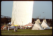 Teepees pitched below the St. Louis Arch during a folk festival on the national park grounds. Missouri