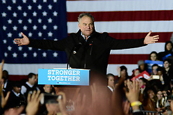 Democratic presidential candidate Hillary Clinton and running mate Sen. Tim Kaine campaign together in Philadelphia, PA, on October 22, 2015.