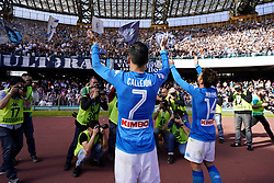 April 8, 2018 - Napoli, Napoli, Italy - Naples - Italy 08/04/2018.JOSE MARIA CALLEJON and DRIES MERTENS  of S.S.C. NAPOLI celebrates during Serie A  match between S.S.C. NAPOLI and CHIEVO VERONA  at Stadio San Paolo of Naples..Final Score S.S.C. NAPOLI - CHIEVO VERONA 2-1  (Credit Image: © Emanuele Sessa/Pacific Press via ZUMA Wire)