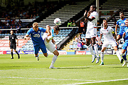 Peterborough United forward Matthew Godden (9) with a diving header during the Pre-Season Friendly match between Peterborough United and Bolton Wanderers at London Road, Peterborough, England on 28 July 2018. Picture by Nigel Cole.