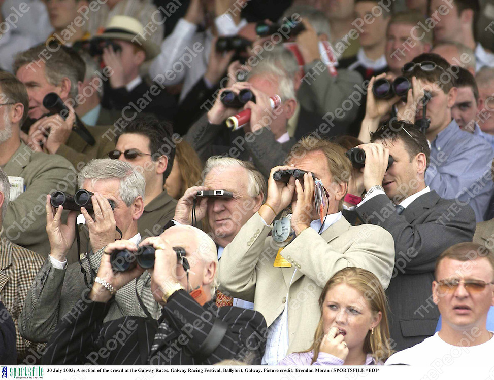 30 July 2003; A section of the crowd at the Galway Races. Galway Racing Festival, Ballybrit, Galway. Picture credit; Brendan Moran / SPORTSFILE *EDI*