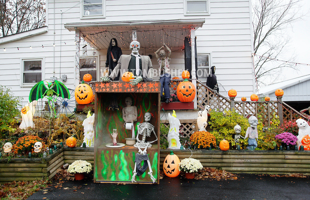 Goshen, NY - A Halloween display in the front yard of a house on Oct. 31, 2009.