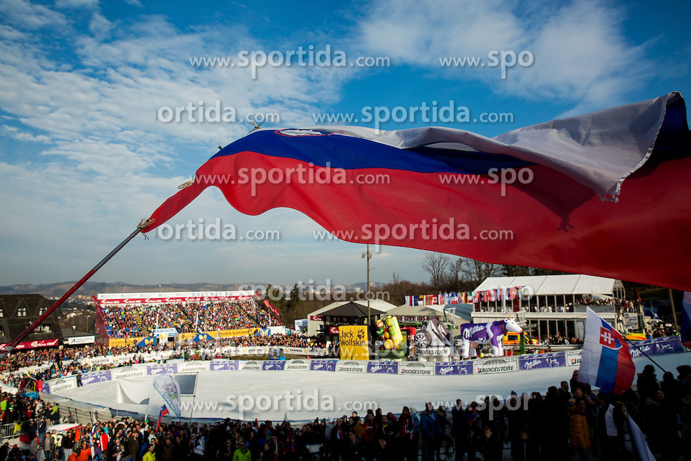 Slovenian flag during the 2nd Run of the 7th Ladies' Giant slalom at 52nd Golden Fox - Maribor of Audi FIS Ski World Cup 2015/16, on January 30, 2016 in Pohorje, Maribor, Slovenia. Photo by Vid Ponikvar / Sportida