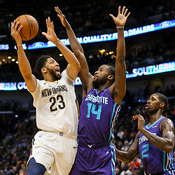 Mar 13, 2018; New Orleans, LA, USA; New Orleans Pelicans forward Anthony Davis (23) shoots over Charlotte Hornets forward Michael Kidd-Gilchrist (14) during the second half of a game at the Smoothie King Center. The Pelicans defeated the Hornets 119-115.  Mandatory Credit: Derick E. Hingle-USA TODAY Sports