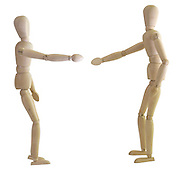 Posed artist manikin on white background shaking hands
