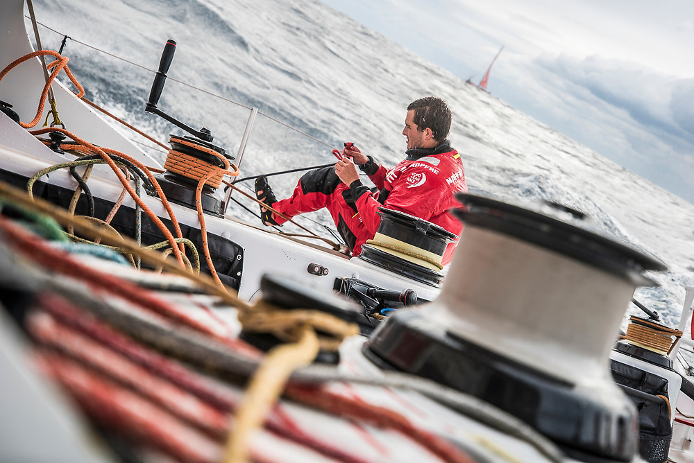 Leg 6 to Auckland, day 02 on board MAPFRE, Blair Tuke during a pilling, Dongfeng in the backgroung without sail. 08 February, 2018.