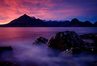SCOTLAND - CIRCA APRIL 2016: Sunset over Elgol in Skye an Island in Scotland