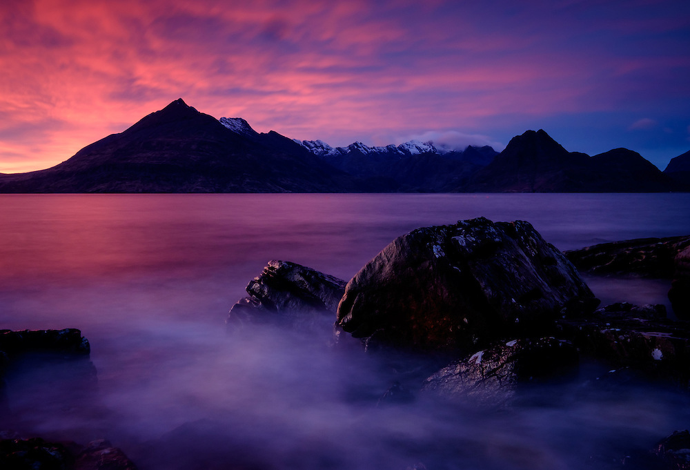 SCOTLAND - CIRCA APRIL 2016: Sunset over Elgol in Skye an Island in Scotland
