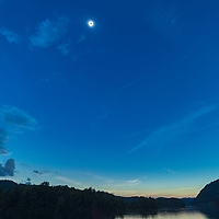 Total solar eclipse above Little Tennessee River, Tallassee, TN
