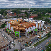 Brookside 51 construction underway  in May 2017. Developed by Van Trust Real Estate to accomodate a Whole Foods, a UMKC student health center, 170 apartment units, and a parking garage.