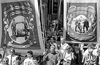 Whitemoor and Stillingfleet Branch banners. 1992 Yorkshire Miners Gala, Barnsley.