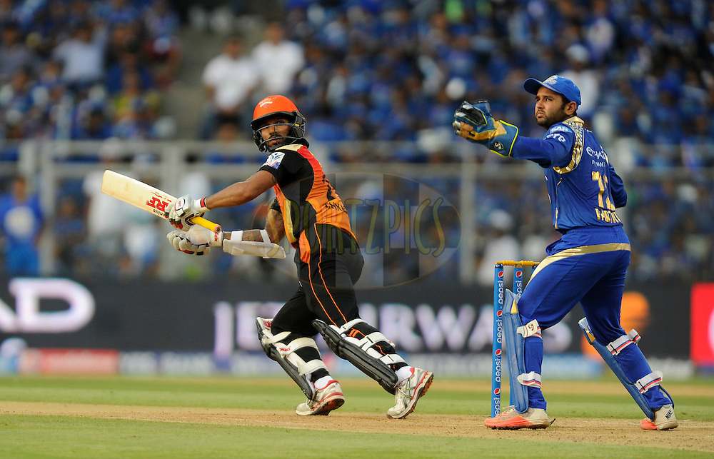Shikhar Dhawan of Sunrisers Hyderabad bats during match 23 of the Pepsi IPL 2015 (Indian Premier League) between The Mumbai Indians and The Sunrisers Hyferabad held at the Wankhede Stadium in Mumbai India on the 25th April 2015.<br /> <br /> Photo by:  Pal Pillai / SPORTZPICS / IPL