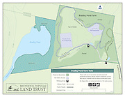 A vector map of Brunswick-Topsham Land Trust's Bradley Pond Farm hiking trails and property.