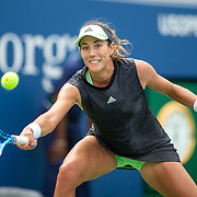 2019 US Open Tennis Tournament- Day Two.  Garbine Muguruza of Spain in action against Alison Riske of the United States in the Women's Singles Round One match on Grandstand Stadium at the 2019 US Open Tennis Tournament at the USTA Billie Jean King National Tennis Center on August 27th, 2019 in Flushing, Queens, New York City.  (Photo by Tim Clayton/Corbis via Getty Images)