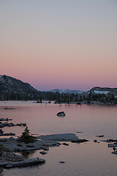 """Lake Aloha Sunset 2"" - Photograph at sunset of Lake Aloha located in the Tahoe Desolation Wilderness."