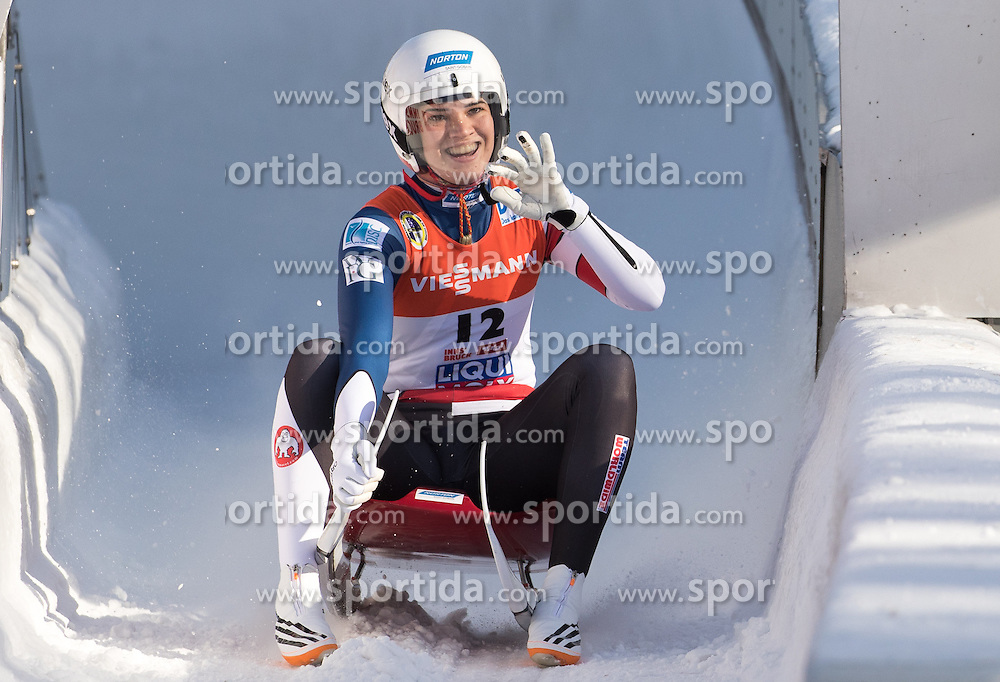 28.01.2017, Olympia Eisbahn, Igls, AUT, FIL Rennrodel WM 2017, Igls, Damen Einsitzer, 2. Lauf, im Bild Summer Britcher (USA) // Summer Britcher of the USA reacts after her 2nd run of women's single seater competition of 2017 Luge World Championship at the Olympia Eisbahn in Igls, Austria on 2017/01/28. EXPA Pictures © 2017, PhotoCredit: EXPA/ Johann Groder