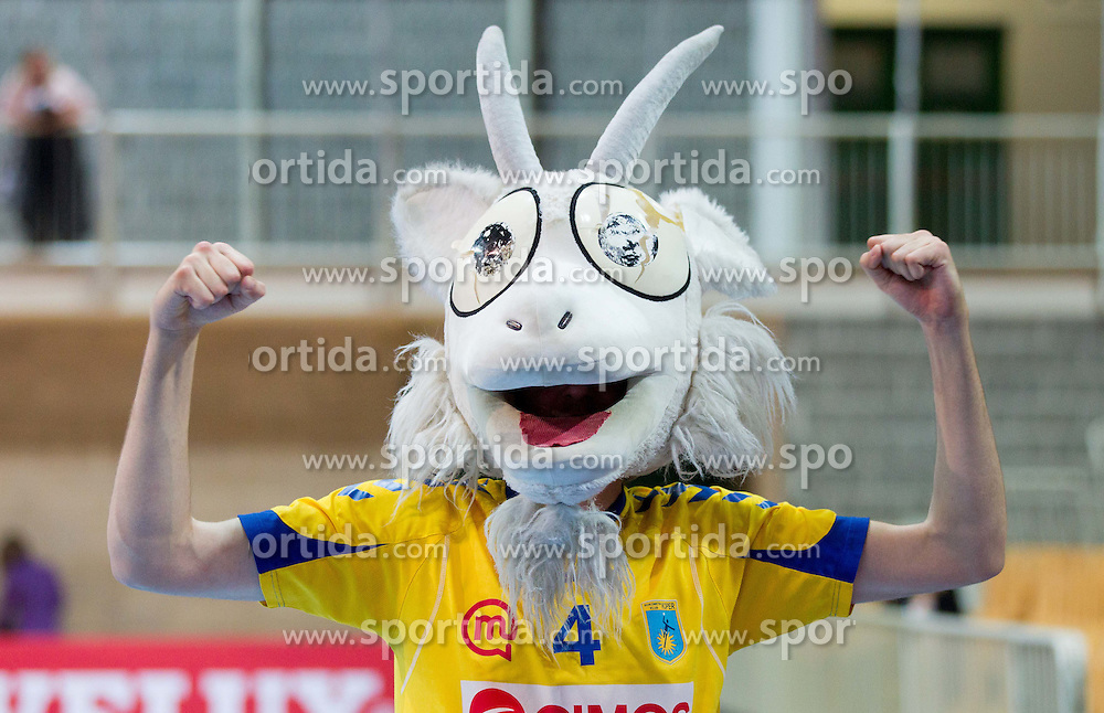Mascot during handball match between RK Cimos Koper and HCM Constanta in 10th Round of season 2011/2012 of EHF Men's Champions League, on February 25, 2012 in Arena Bonifika, Koper, Slovenia. Cimos Koper defeated Constanta 28-24. (Photo By Vid Ponikvar / Sportida.com)