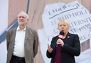 Jeremy Corbyn MP, Leader of the Labour Party, Tom Watson MP, Deputy Leader of the Labour Party and Angela Eagle MP, Shadow First Secretary of State and Shadow Secretary of State for Business, Innovation and Skills unveil a new poster from the Labour In for Britain campaign to Remain in the EU.<br /> 7th June 2016.<br /> Southbank, London, Great Britain <br /> <br /> <br /> Angela Eagle <br /> Jeremy Corbyn <br /> <br /> <br /> <br /> <br /> <br /> Photograph by Elliott Franks <br /> Image licensed to Elliott Franks Photography Services