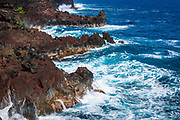Rocky coastline and surf at MacKenzie State Park, Pahoa, The Big Island, Hawaii USA