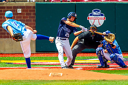 25 May 2019:  Zach Frey pitches, Max Wright catches, Evan Sandmann bats a home run and Bill McGuire makes the calls. Missouri Valley Conference Baseball Tournament - Dallas Baptist Patriots v Indiana State Sycamores at Duffy Bass Field in Normal IL<br /> <br /> #MVCSPORTS