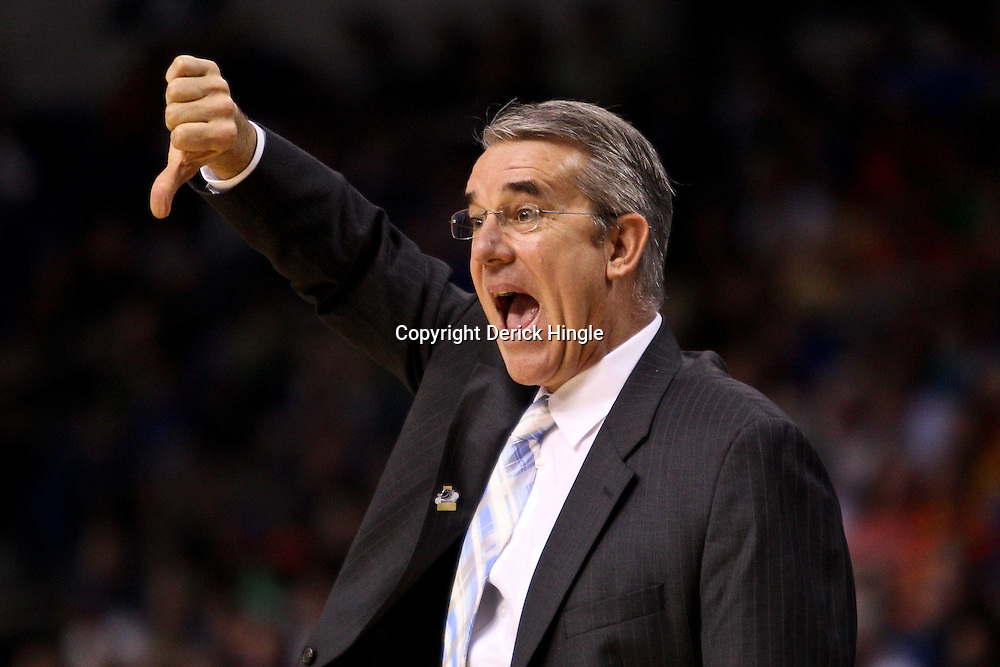 Mar 17, 2011; Tampa, FL, USA; UC Santa Barbara Gauchos head coach Bob Williams during first half of the second round of the 2011 NCAA men's basketball tournament against the Florida Gators at the St. Pete Times Forum.  Mandatory Credit: Derick E. Hingle