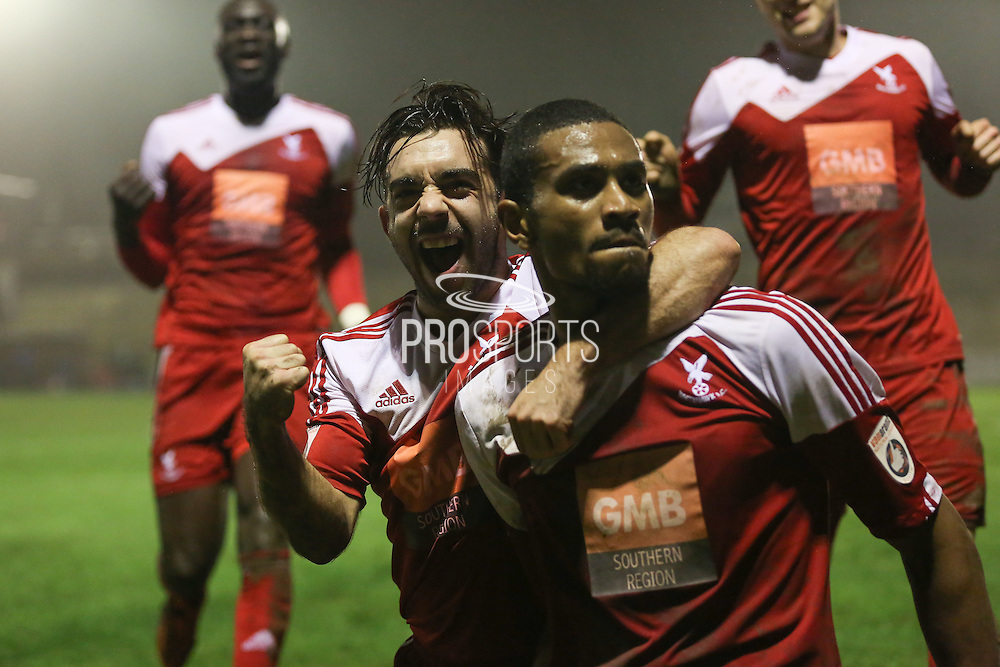Whitehawk midfielder Sam Deering and Whitehawk striker Danny Mills celebrates his goal during the The FA Cup 2nd Round Replay match between Whitehawk FC and Dagenham and Redbridge at the Enclosed Ground, Whitehawk, United Kingdom on 16 December 2015. Photo by Phil Duncan.