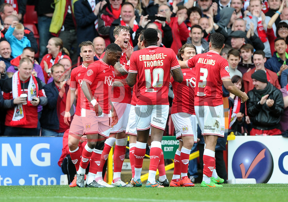 Bristol City's Aden Flint celebrates in front of a packed williams stand  - Photo mandatory by-line: Joe Meredith/JMP - Mobile: 07966 386802 - 03/05/2015 - SPORT - Football - Bristol - Ashton Gate - Bristol City v Walsall - Sky Bet League One