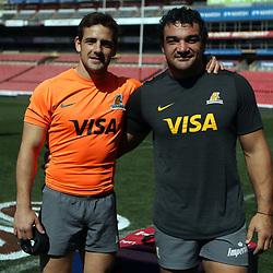 Nicolas Sanchez with Agustin Creevy of the Jaguares during the Jaguares Captain's Run at the Emirates Airlines Park Stadium,Johannesburg, South Africa. 20,07,2018 (Photo by  Steve Haag Jaguares)