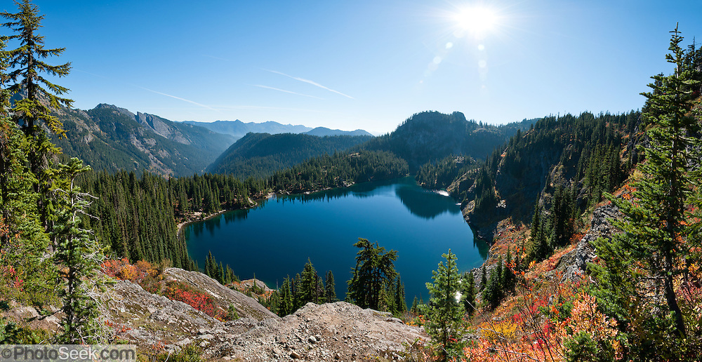 Rachel Lake, Box Canyon, in Alpine Lakes Wilderness, Wenatchee National Forest, Washington, USA. Panorama stitched from 8 images.