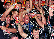 Kiwis coach Frank Endacott celebrates with his team after their win against Australia 1997. Photo: Andrew Cornaga / www.photosport.co.nz
