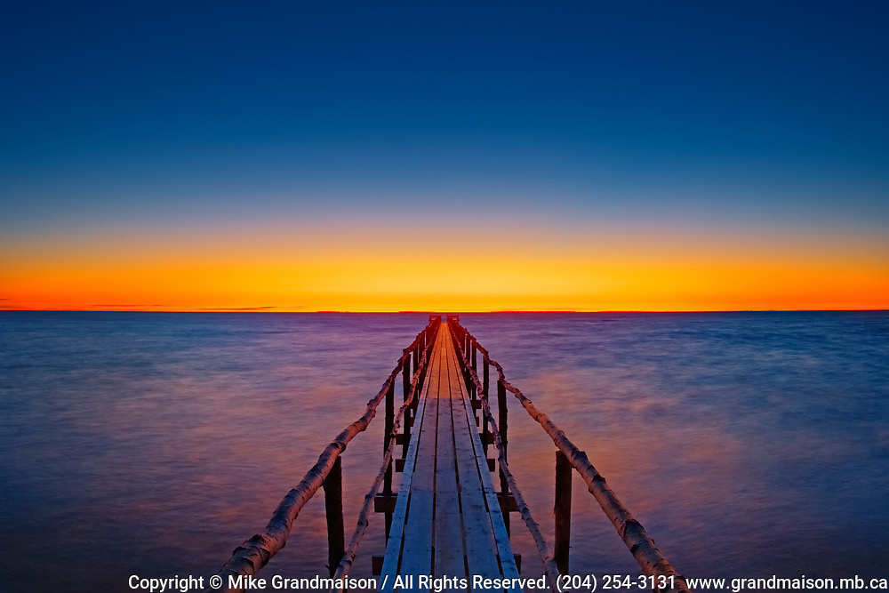 Pier (dock) on Lake Winnipeg at dawn<br />Matlock<br />Manitoba<br />Canada