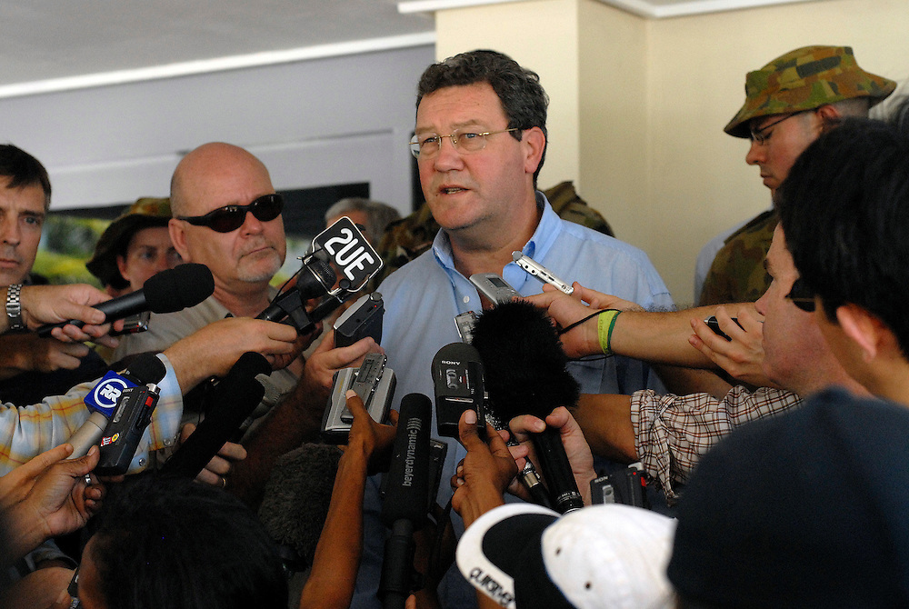 Alexander Downer addresses the media at a press conference at Dili Airport. Dili, East Timor. 03/06/06