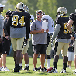 01 August 2009: Saints defensive coordinator Gregg Williams talks to the defense during New Orleans Saints training camp at the team's practice facility in Metairie, Louisiana.
