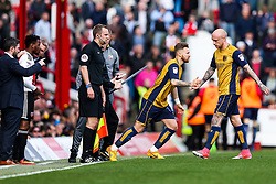 Lee Tomlin comes on for David Cotterill of Bristol City - Rogan Thomson/JMP - 01/04/2017 - FOOTBALL - Griffin Park - Brentford, England - Brentford v Bristol City - Sky Bet EFL Championship.