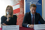 (L) Iwona Guzowska and (R) Adam Krzesinski - General Secretary of Polish Olympic Committee  during press conference before National Day of Sport 2013 at Olympic Centre in Warsaw on October 17, 2013.<br /> <br /> Poland, Warsaw, October 17, 2013<br /> <br /> Picture also available in RAW (NEF) or TIFF format on special request.<br /> <br /> For editorial use only. Any commercial or promotional use requires permission.<br /> <br /> Mandatory credit:<br /> Photo by © Adam Nurkiewicz / Mediasport