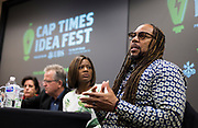 James Causey, right, speaks during the Cap Times Idea Fest 2018 at the Pyle Center in Madison, Wisconsin, Saturday, Sept. 29, 2018.