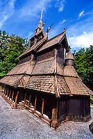 Norway, Bergen. Fantoft Stavkirke (Stave Church).
