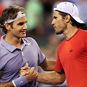 March 12, 2014 Indian Wells, California. Roger Federer defeats Tommy Haas at the 2014 BNP Paribas Open. (Photo by Billie Weiss/BNP Paribas Open)