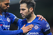 Chelsea midfielder Cesc Fabregas (4) celebrates with Chelsea midfielder Ruben Loftus-Cheek (12) after scoring a goal taking his team to a 3-2 lead during the EFL Cup 4th round match between Chelsea and Derby County at Stamford Bridge, London, England on 31 October 2018.