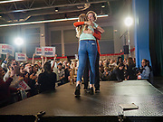 04 NOVEMBER 2019 - GRINNELL, IOWA: US Senator ELIZABETH WARREN (D-MA), hugs one of her local organizers at Grinnell College. Sen. Warren spoke to a crowd of about 850 students and local residents. She brought her campaign to be the Democratic nominee for the US Presidency to the college town of Grinnell, Iowa, Monday. Iowa holds the first selection event of the 2020 presidential election cycle. The Iowa caucuses are Feb. 3, 2020.           PHOTO BY JACK KURTZ