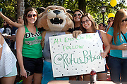 Rufus takes pictures with students at the Campus Involvement Fair in Athens, Ohio on Sunday, August 25, 2013. Photo by Chris Franz