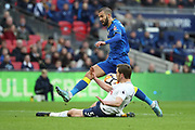 AFC Wimbledon defender George Francomb (7) battles for possession with Jan Vertonghen of Tottenham Hotspur (5) during the The FA Cup 3rd round match between Tottenham Hotspur and AFC Wimbledon at Wembley Stadium, London, England on 7 January 2018. Photo by Matthew Redman.