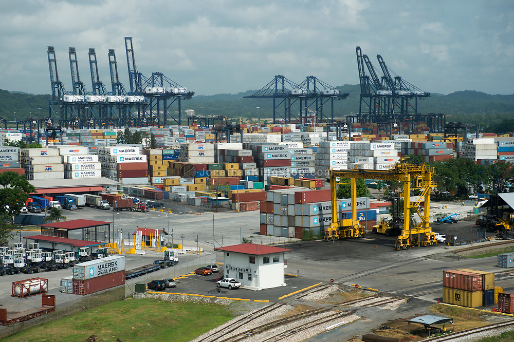 Aerial view of a port at the Pacific entrance to the Panama Canal.