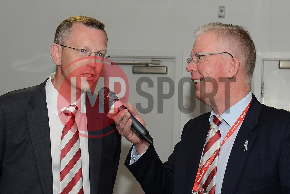 Dave Lloyd speaks with Chief Executive John Pelling - Photo mandatory by-line: Dougie Allward/JMP - Mobile: 07966 386802 - 03/05/2015 - SPORT - Football - Bristol - Ashton Gate - Bristol City v Walsall - Sky Bet League One