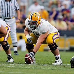 18 April 2009: LSU center T-Bob Hebert (53) prepares to snap the ball during the 2009 LSU spring football game at Tiger Stadium in Baton Rouge, LA.