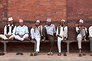 Men on bench, Kathmandu, Nepal