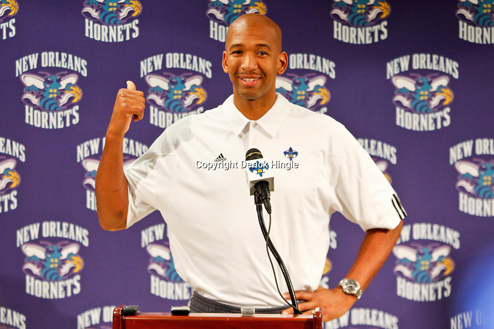 December 17, 2011; New Orleans, LA, USA; New Orleans Hornets head coach Monty Williams at a press conference to introduce players acquired from the Los Angeles Clippers in the Chris Paul trade prior to team scrimmage at the New Orleans Arena.   Mandatory Credit: Derick E. Hingle-US PRESSWIRE