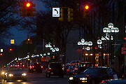 A cluster of LED streetlights on S. Main in Ann Arbor, MI, Thursday, May 7, 2009. Ann Arbor has installed LED streetlights to reduce lighting costs and greenhouse gas emissions. The lights are made by Relume Technologies, Inc., of Oxford, MI.